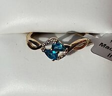 10K Yellow Gold Neon Apatite & White Zircon Ring, Size 8/ Anillo de Oro