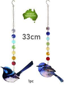33cm Crystal CHAKRA 7 COLOUR Blue Wren Bird Mobile Home Decor Gift Hanging Gem