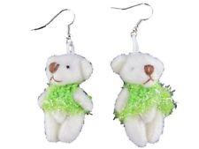 Ohrringe Hänger Teddybär Bär Teddy Plüsch Sammler grün Kleid - gestrickt 1518