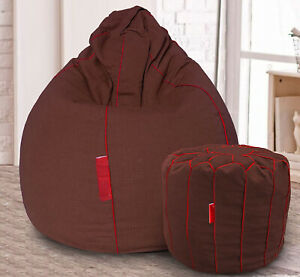 Handmade Cotton Khadi Bean Bag Cover & Footstool Brown for luxuries Home gifts