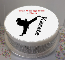"""Novelty Personalised Female Karate Silhouette 7.5"""" Edible Icing Cake Topper"""