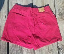 Tommy Hilfiger High Waisted Vintage Shorts Flag Logo Red Hot Denim Shorts Sz 14