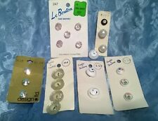NEW LOT / 6 CARDS.VTG.60's FANCY BUTTONS.OLD STORE STOCK.SPARKLY,PEARL,PORCELAIN