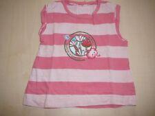 C & A süßes T-Shirt Gr. 62 / 68 rosa-gestreift mit Druckmotiv !!