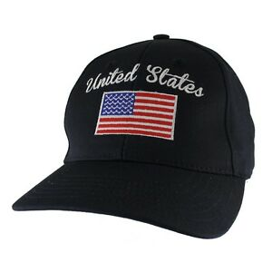 Navy US American Flag Patch United States America Baseball Hat Cap Made In USA