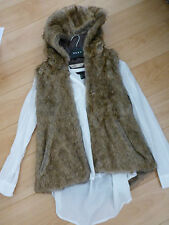 Waist Length Faux Fur Waistcoats for Women without Fastening
