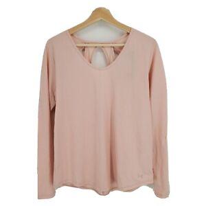 New Under Armour Women's Pindot Open Back Long Sleeve Shirt Pink Size Medium