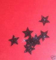 30 étoiles NOIR 1cm Flex thermocollant GLITTER NOIR hotfix