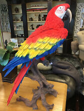 More details for large south american parrot vivid red & yellow blue parrot life size statue !!!!