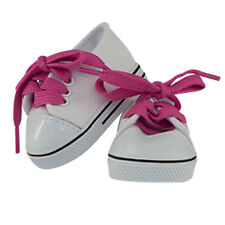 """MangoPeaches 18"""" Doll White Tennis Shoes/Pink shoe laces Fit American Girl Dolls"""