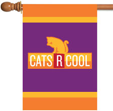 New Toland - Cats R Cool - Bright Orange Purple Kitty Cat House Flag