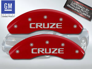 """2016 Chevy """"Cruze"""" Limited Front Red MGP Brake Disc Caliper Cover 2pc Set"""