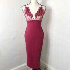 ASOS Women's 8 Burgundy Empire Waist Floral Swiss Dot Dress