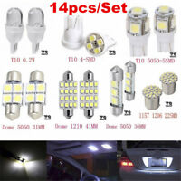 14 Pcs LED Interior Package Kit For T10 36mm Map Dome License Plate Lights White