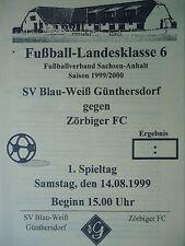 Programm 1999/00 Blau Weiß Günthersdorf - Zörbiger FC