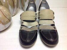PATAUGAS women's Brown/ Tan leather,heel Mary Jane shoes Sz 41/ US9.5