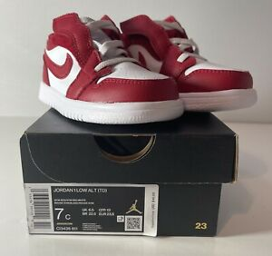 Nike Jordan Boys 7c Jordan 1 Low Alt Red White Shoes w Box NEW