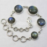 "Round Labradorite Bracelet 8"" 925 Sterling Silver Ladies Stone Jewelry"