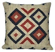 Handwoven Kilim Cushion Cover 18x18 Decorative Jute Square Vintage Pillow Cases