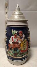 vintage German Lidded Beer Stein 9in
