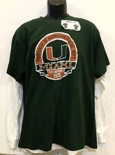 University of Miami Hurricanes Men's Layered t-Shirts, Cotton - L, NWT