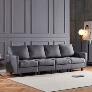 4-Seaters Linen Fabric Sofa Couch with Armrest Padded Seat Living Room Grey BN