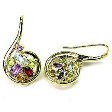 Sterling Silver 925 Stunning 14ct Gold Plated Genuine Gemston Dangle Earrings