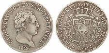Italie, 5 lire en argent, Charles-Félix, 1826 Gênes, Savoie-Sardaigne, RARE - 56