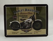 Embossed Harley Davidson '1936 Knucklehead' Tin Plate Wall Sign 20cm x 15cm NEW!