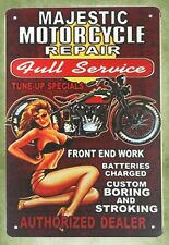 Us Seller- city wall decor Majestic motorcycle pin-up sexy girl tin metal sign