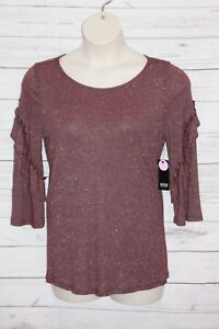 A.N.A Women's Blouse Red Wine Silver Metallic Size Large Ruffeled Bell Sleeve