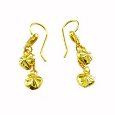 1pc EARING GOLD PLATED HOOK 2 HEARTS CUTTING GLITTER ORIENTAL SPARKLE THAI STYLE