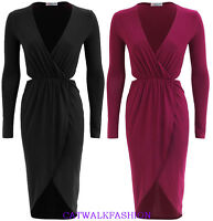 Womens Ladies Slinky Wrap Over Cut Out Sides Ruched Dress Black Plum UK8-14 E30