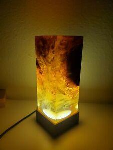 Night Light Epoxy Resin Wood Lamp Green
