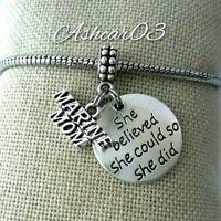 Marine corp Mom Military Daughter Charm Pendant F European Bracelet Necklace