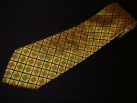 New Faconnable Tie Gold Black Plaids Check Italian Woven Jacquard Thick Necktie