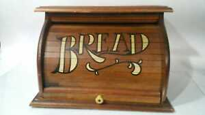 Vintage Wood Bread Box Roll Top Rustic Primitive Country Kitchen Bread Storage