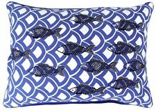 FISH SEA SHELL SEQUINS EMBROIDERED BLUE WHITE CUSHION COVER 35 X 50CM