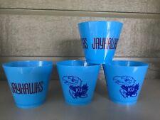 Lot of 4 Vintage University of Kansas KU Jayhawks Hard Plastic Cups Glasses