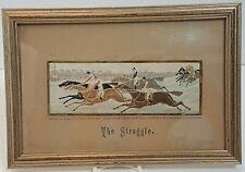 Horseback Racing Silk Picture Stevengraph Stevens Framed The Struggle Vintage