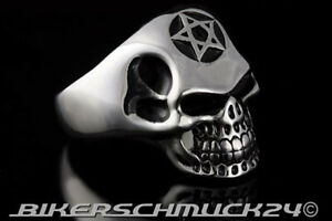 Totenkopfring mit Pentagramm silber Skull 316L Edelstahl Biker-Schmuck Geschenk