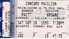 Jackson Browne / Bonnie Raitt - Concert Ticket - Concord Pavilion - 18 Sep 1999