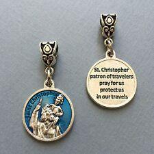 "Saint Christopher Travelers Travel Protection Medal Pendant Blue Enamel 3/4"""