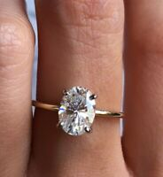 Women's Vintage Oval Moissanite Solitaire Ring 14k Gold Estate Antique Size 6
