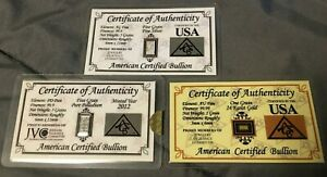 ACB Palladium & Silver 5GRAIN BULLION BARS 99.9  Pure & 1GRAIN Gold Bar in Card