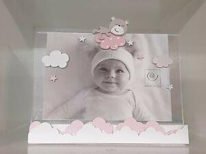 Mascagni portafoto in legno bimba rosa orsetto cm.13x18