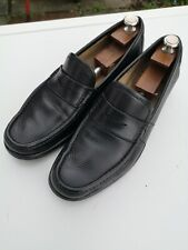 Mens SALVATORE FERRAGAMO 100% Leather Black Slip-on Loafers UK 9 (US 10 D)