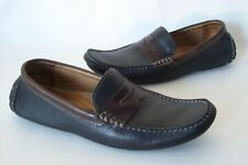 Men's 1901 Leather Driving Hipster Loafers Black Brown Trim 10M