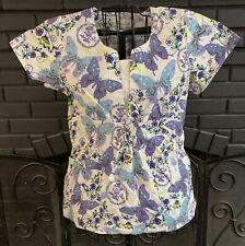 Peaches Nursing Scrub Top Purple Blue Butterfly Pattern Women's S