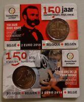 2 euro Gedenkmünze Belgien 2014 in COINCARD : 150 Jahre Rotes Kreuz